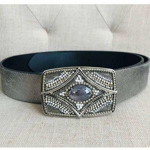 Chico's Metallic Beaded Jeweled Boho Leather Belt